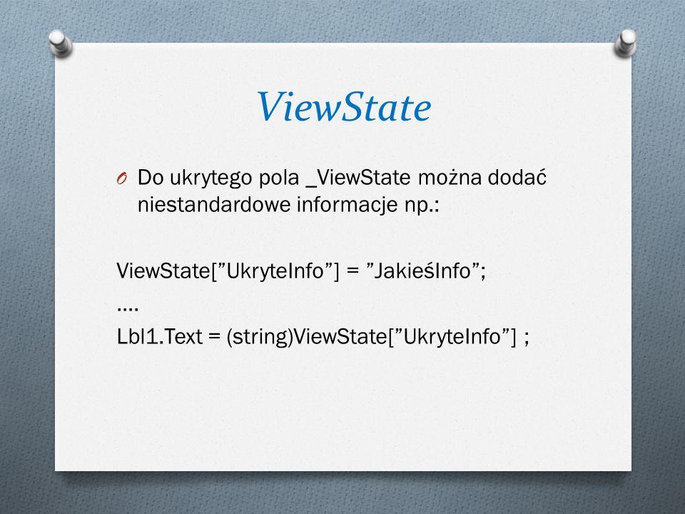 ViewState Do ukrytego pola _ViewState można dodać niestandardowe informacje np.: ViewState[ UkryteInfo ] = JakieśInfo ;